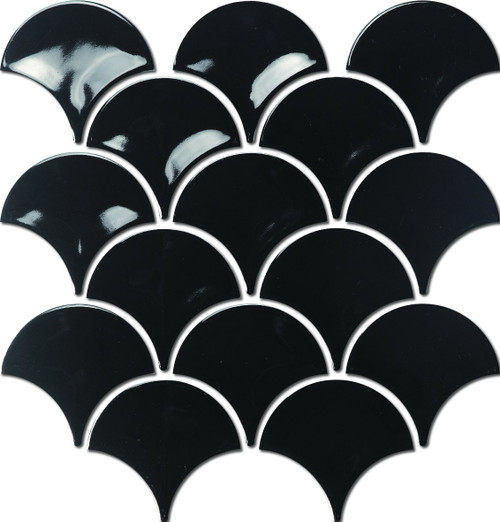 Gloss Black Fish Scale Mosaic Tiles