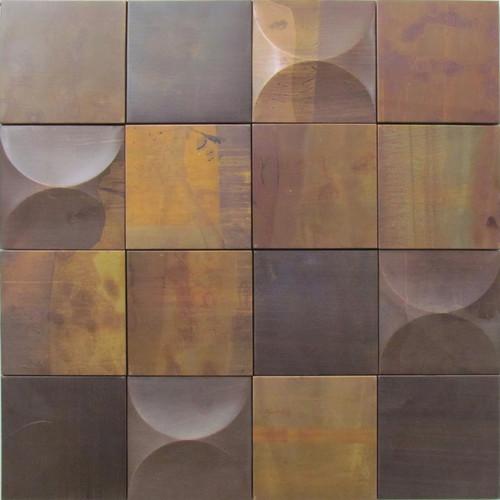 Copper mosaic wall tiles 3D effect