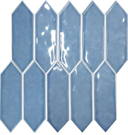 Blue elongated hexagon porcelain mosaic tiles