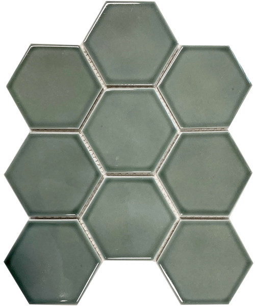 Aqua colour glazed porcelain hexagon mosaic tiles