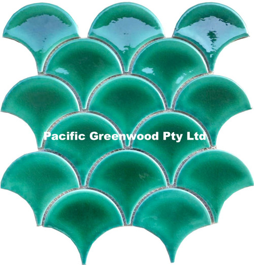 reef green fish scale mosaic tiles
