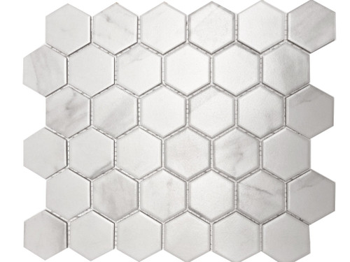 Carrara matte hexagon porcelain mosaic tiles