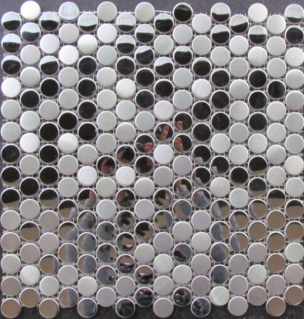 Round stainless steel mosaic tiles