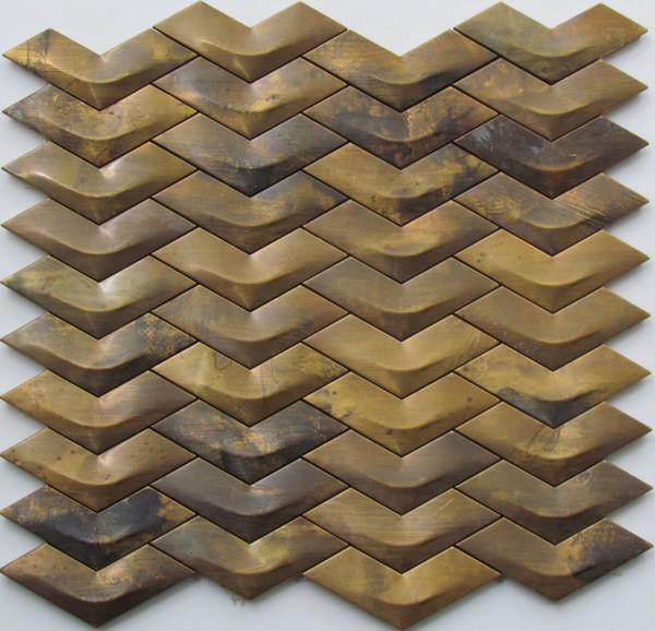 976 3D Chevron Brass Mosaic Tiles