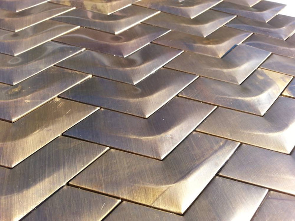 Weathered brass mosaic tiles