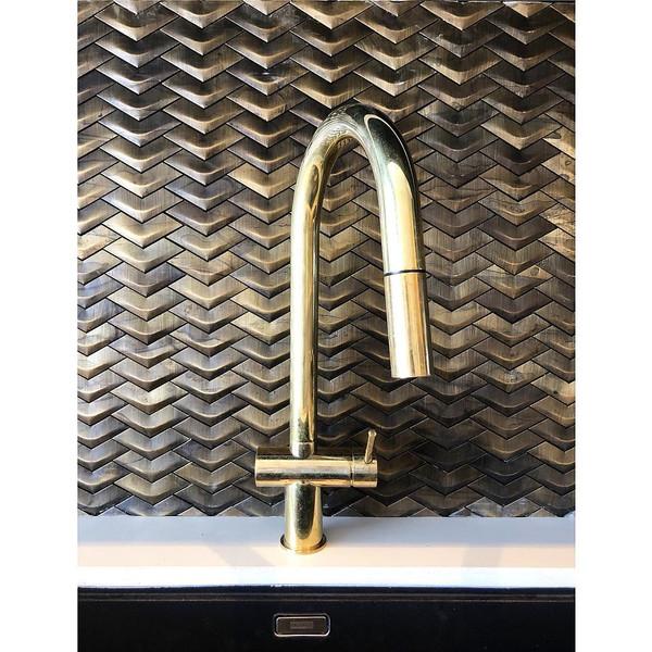 Brass chevron mosaic tiles