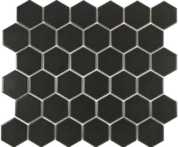 PG2 Matte Black Hexagon Mosaic Tiles