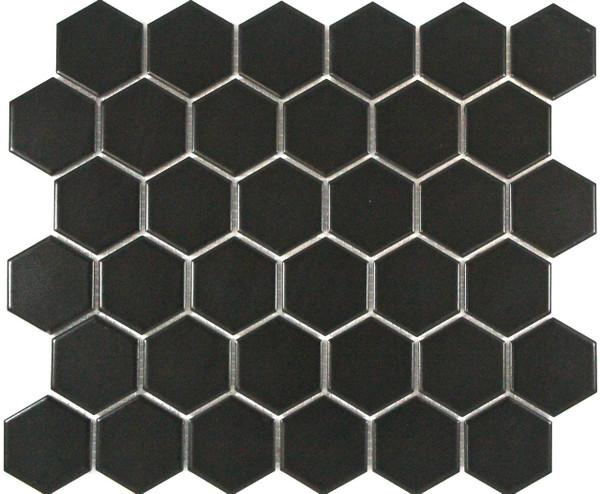 PG2 Matte Black Hexagon Mosaic Tiles