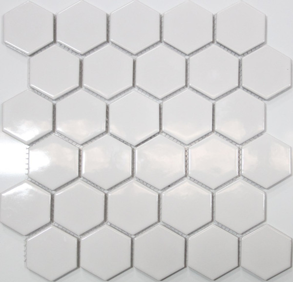 Gloss white hexagon mosaic tiles
