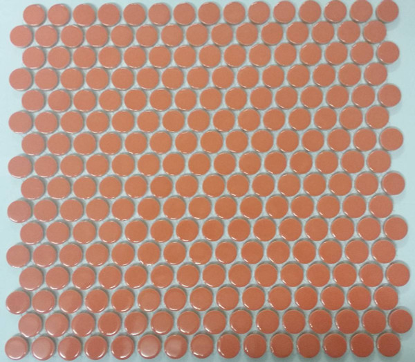 Orange penny round mosaic tiles