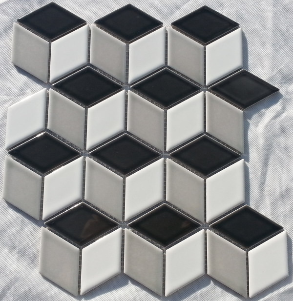 Mixed gloss cube mosaic tiles