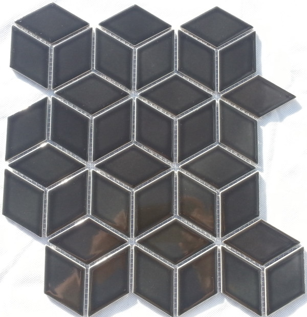 Black porcelain 'cube' mosaic tiles