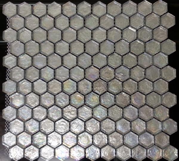 Iridescent glass mosaic hexagon