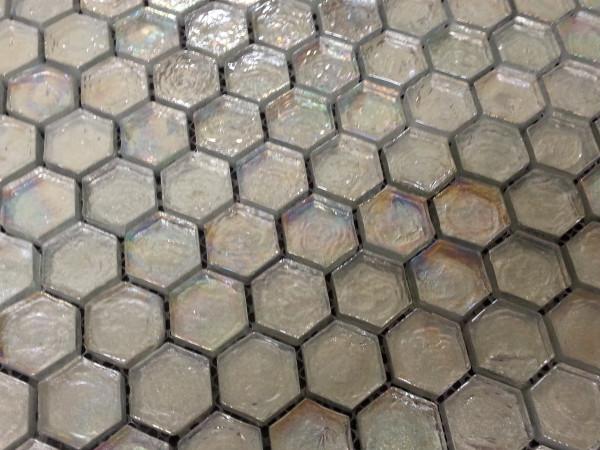 Rainbow hexagon mosaic tiles