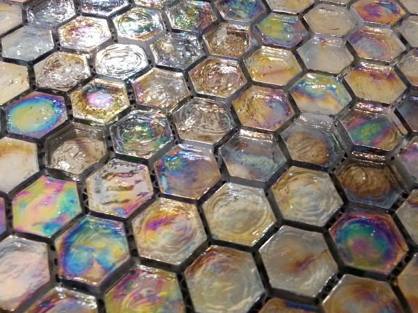 Iridescent hexagonal mosaic tiles