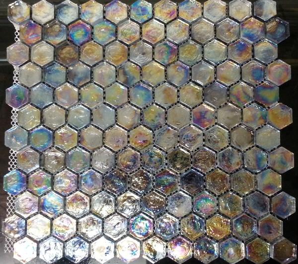 Black rainbow mosaic tiles