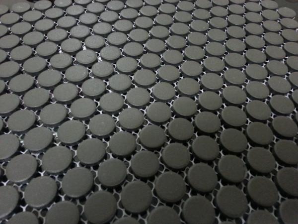 Unglazed penny round mosaic tiles