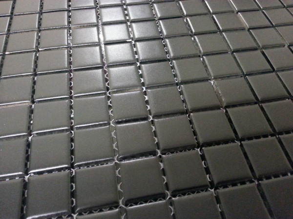 Close up of black matte mosaic tiles