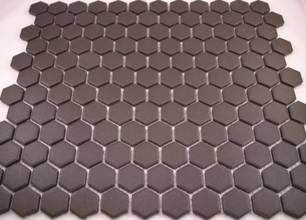 Unglazed black hexagon tiles