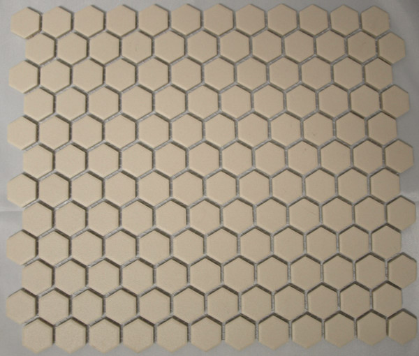 Unglazed white hexagon mosaic tiles