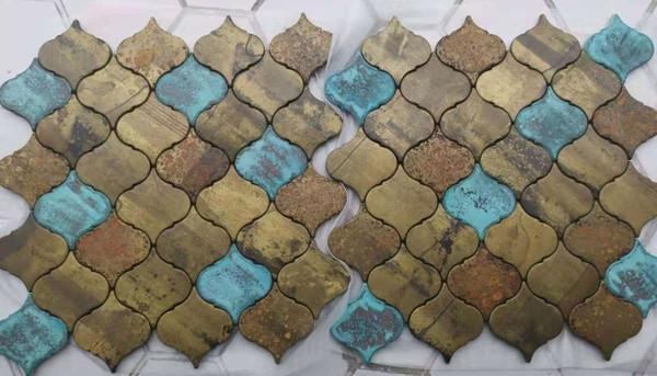 Brass feature wall mosaic tiles