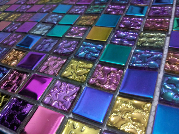 rainbow colour glass mosaic tiles