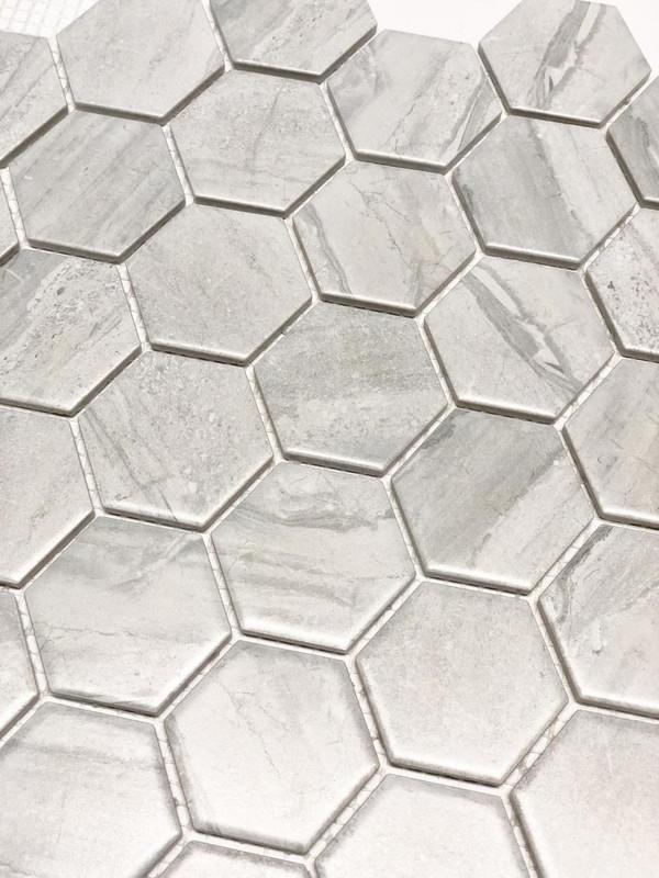 Porcelain hexagon mosaic tiles