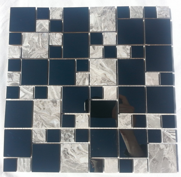 0SA073 Stainless Steel & Marble Mosaic Tiles