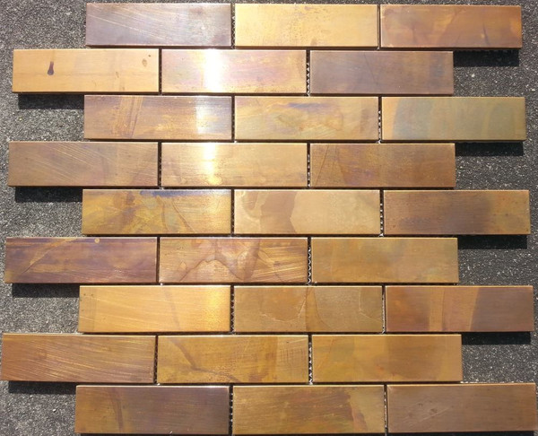 Copper subway mosaic tiles