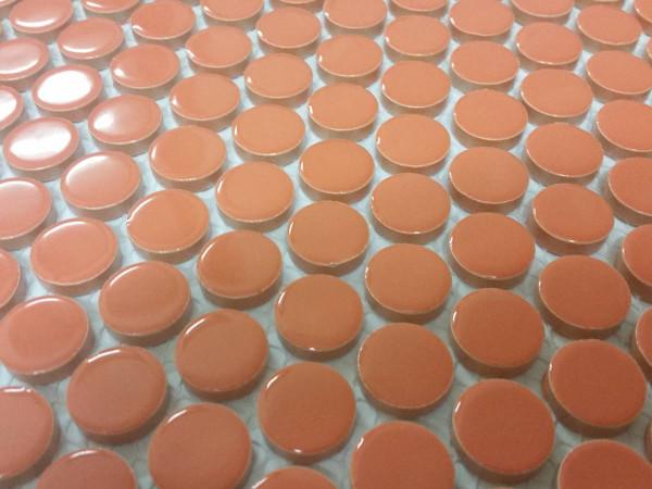 Gloss orange penny round tiles