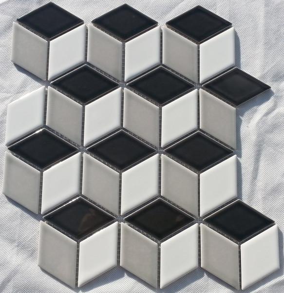 Mixed gloss cube mosaic tiles