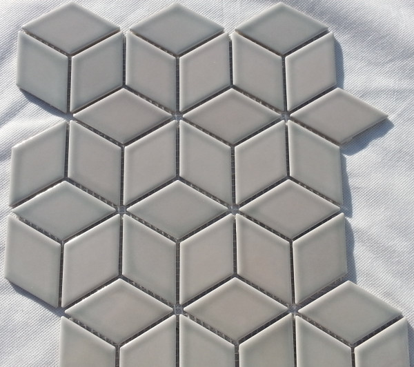Grey gloss cube mosaic tiles