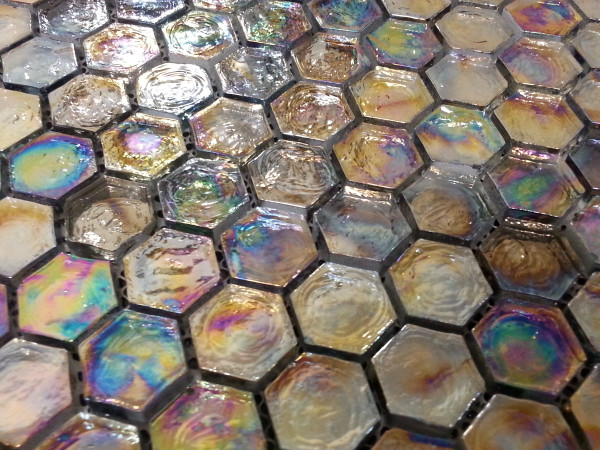 Iridescent hexagonal mosaic tiles