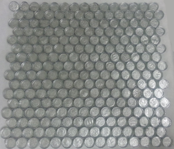 Silver glass penny round mosaic tiles