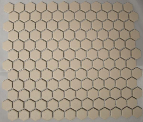 Unglazed white hexagon mosaic tiles