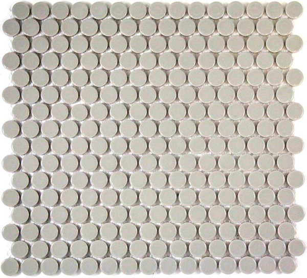 Light grey penny round mosaic tiles