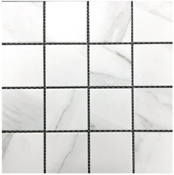 Carrara look porcelain mosaic tiles