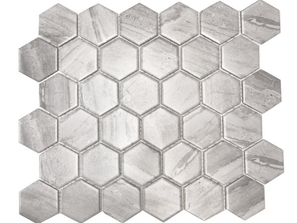 Wooden grey hexagon mosaic tiles