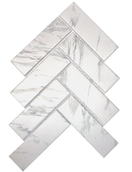Carrara look porcelain mosaic tiles. Herringbone.