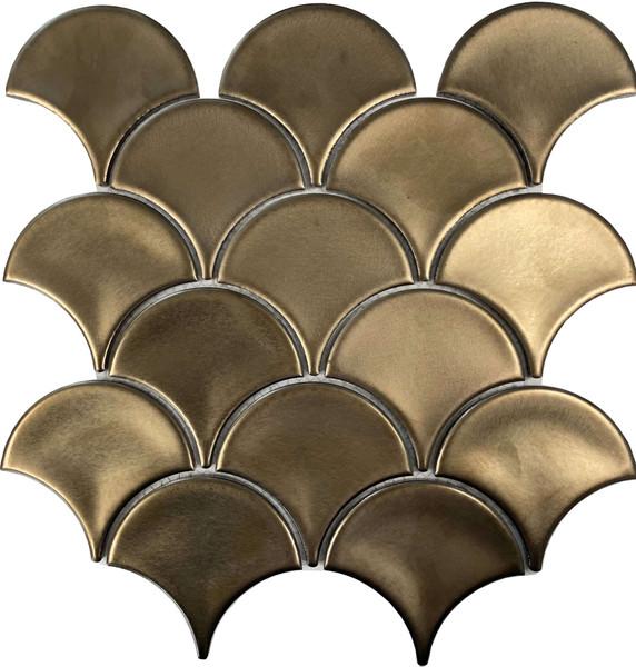 Metallic bronze fish scale porcelain tiles