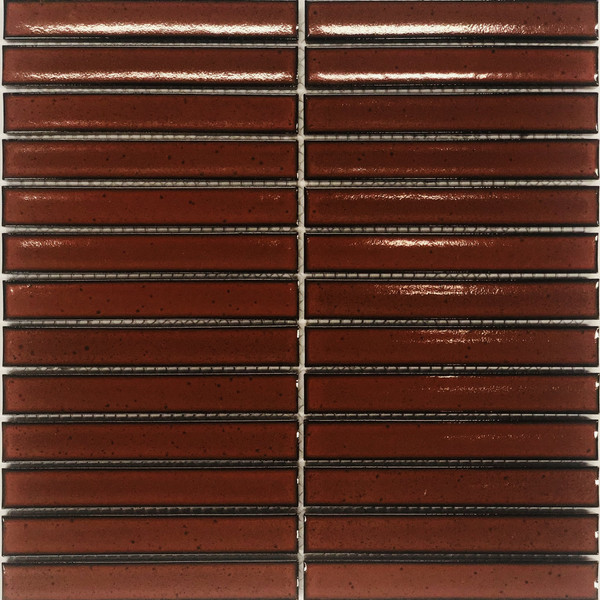 Gloss red porcelain mosaic tiles