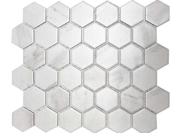 Carrara matte hexagon porcelain mosaic tiles