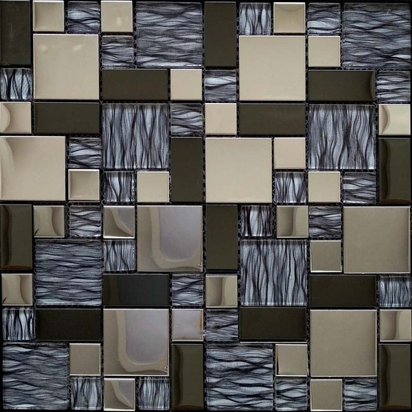 Stainless steel and glass mosaic tiles