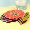 Personalized Spring Flower Cork Coasters Wedding Favors