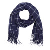 Navy Blue Plaid Adaline Shawl Scarf