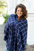 Navy Blue Plaid Adaline Shawl Wrap