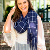 Soft Acrylic Scarf in Navy Blue Plaid
