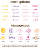 Font & Monogram Options for Personalized Front Car Mats