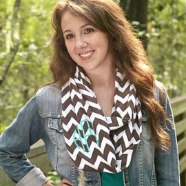 Monogrammed Chevron Infinity Scarf in Taupe