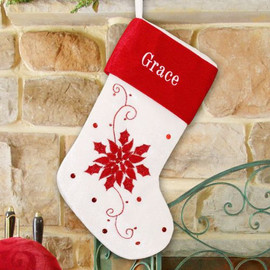 Personalized Poinsetta & Sequins Christmas Stocking
